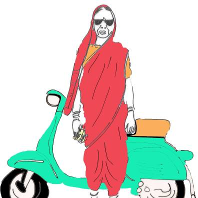 Chai Tai by Maithilee Sagara. Weapon: Kohlapuri Chappal and Ladle Always carries: Potli of chai patti Ride: Bajaj scooter which has a space for single stove and other utensils/ingredients needed for chai Chai Tai has taken it upon herself to right the wrongs of patriarchy by catching hold of brats and freeing their brain of diseases like toxic masculinity, misogyny, casual sexism, homophobia, etc. She does so by brewing conversations over chai (she sells chai out of the scooter) and if that doesn't work, her ladle and kohlapuri serve the purpose.