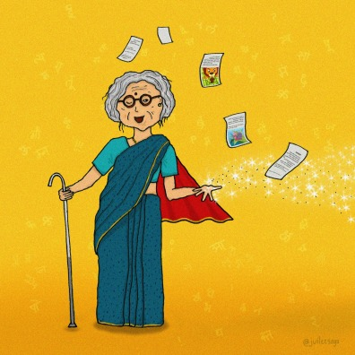 Super Granny by Juilee Tembhekar. SuperGranny is spreading her magic of words making stories from around us seem otherworldly. Kudos to her new Cape that takes her places in a snap of a finger. Thanks SuperGranny, keep doing your thing! Superpower: Keeping 21st century kids off digital devices for 30+ minutes. Weakness: Never being aware of the whereabouts of her eye glasses; especially when she carefully places them on the top of her head. Can be spotted in the kitchen slyly adding extra ghee on your rotis. If seen around, immediately bend down to take Aashirwad.
